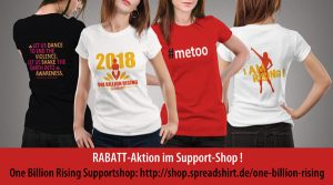 Rabattaktion im One Billion Rising Supportshop