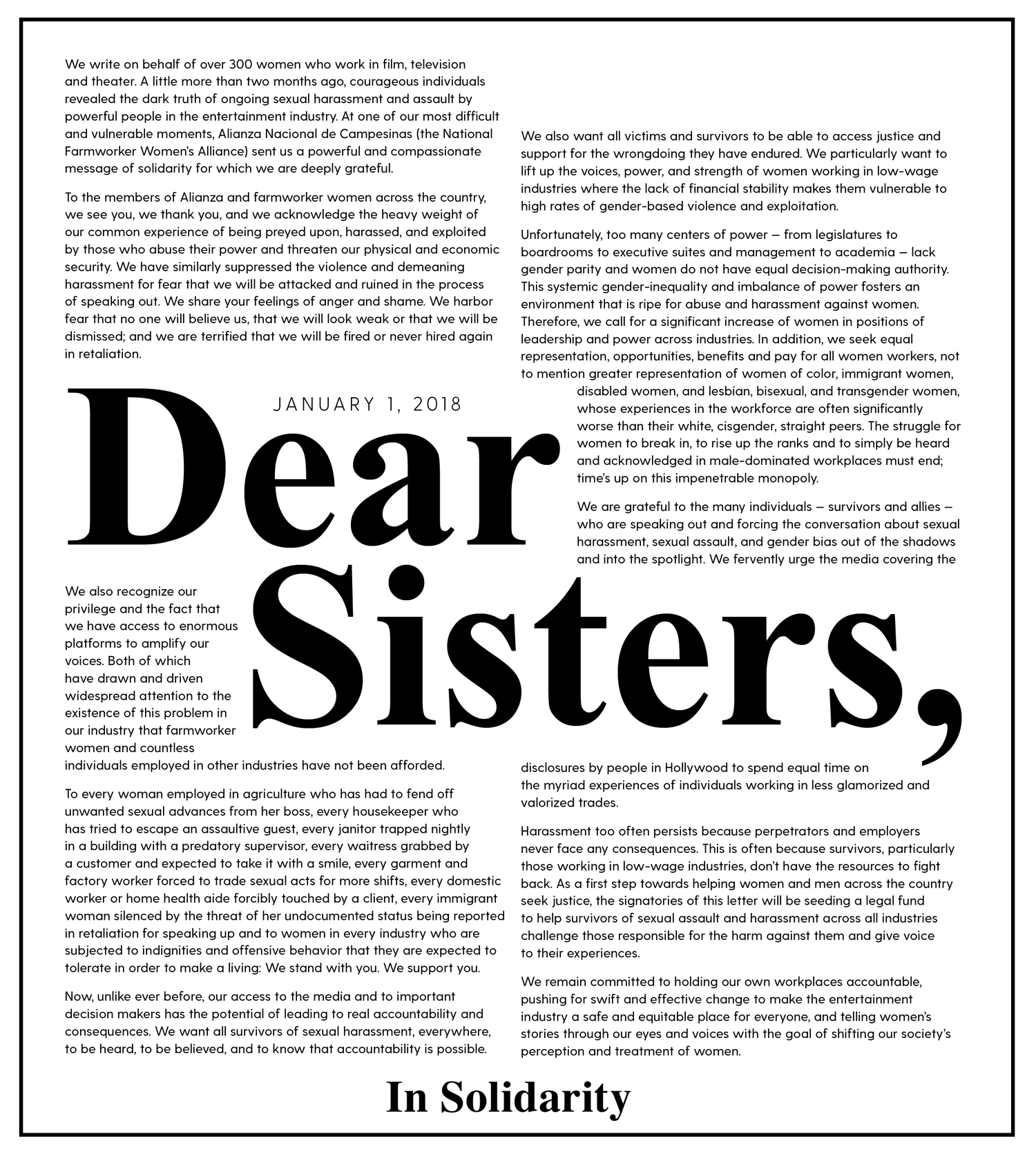 Time's Up - Letter of Solidarity