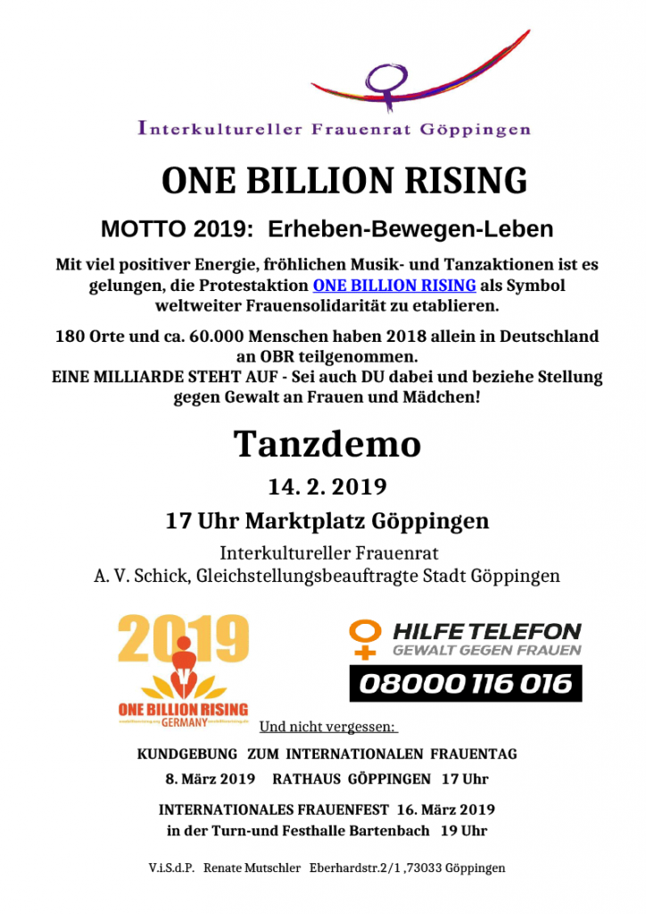 Flyer One Billion Rising 2019 Goeppingen