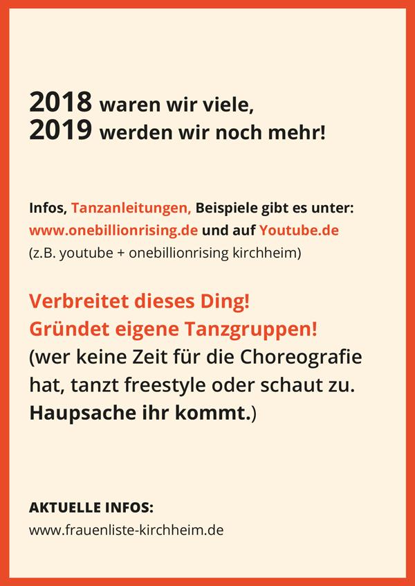 One Billion Rising 2019 Kirchheim unter Teck Flyer RS