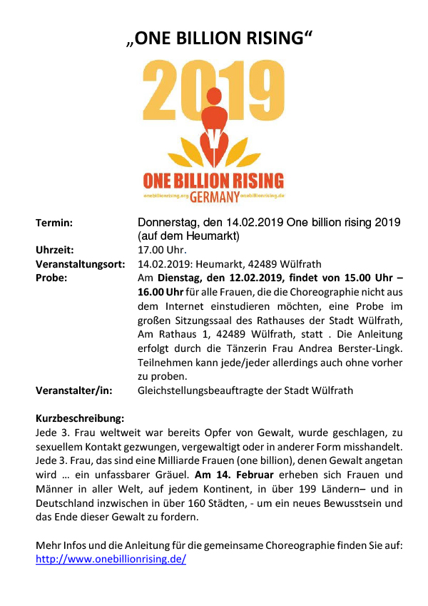 One Billion Rising 2019 Wülfrath