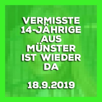 Update - Vermisste 14-Jährige aus Münster ist wieder da - 18.9.2019