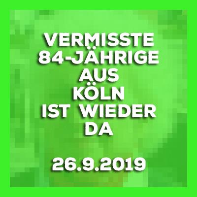 Vermisste 84-Jährige aus Köln wohlauf angetroffen. Update vom 26.9.2019