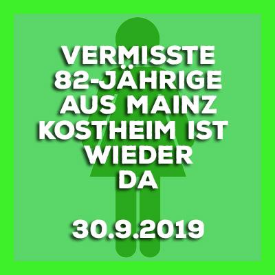 30.9.2019 - Mainz-Kostheim - Update - Vermisste 82-Jährige wohlbehalten gefunden.