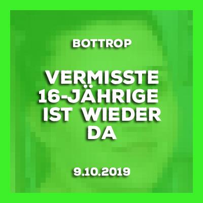 9.10-2019 - Update - vermisste 16-Jährige aus Bottrop ist wieder da.