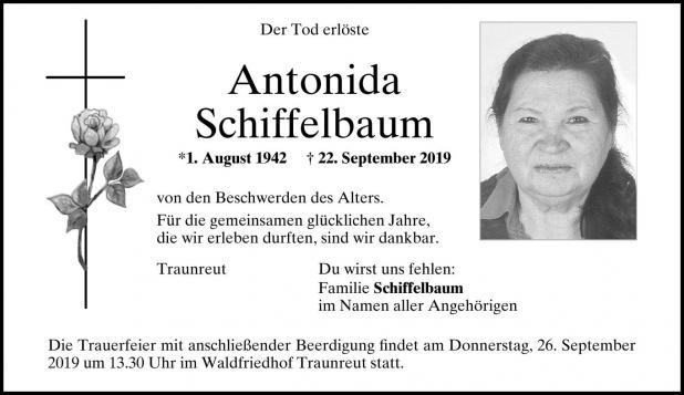 Trauenanzeige Antonida Schiffelbaum