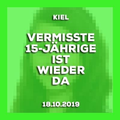 18.10.2019 - Vermisste 15-Jährige aus Kiel ist wieder da.
