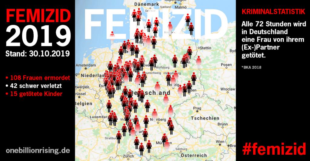 Alle 72 Stunden ein #Femizid in Deutschland. 108 Frauen wurden bis heute von ihrem (Ex-)Partner getötet, 42 weitere Frauen zum Teil lebensgefährlich verletzt. Stand 30.10.2019