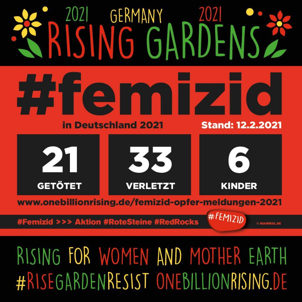 #Femizid in Deutschland - Stand 12.2.2021 - Aktion #RoteSteine #RedRocks #1billionrising #RisingGardens