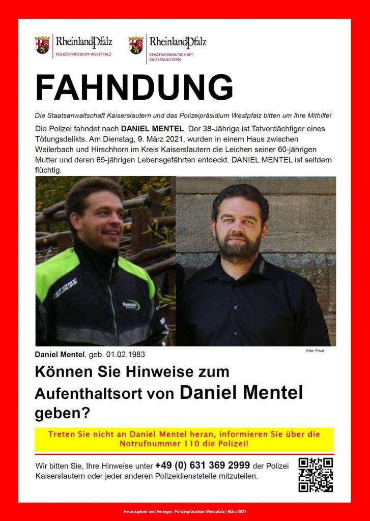 Fahndungsaufruf der Polizei nach Daniel Mentel